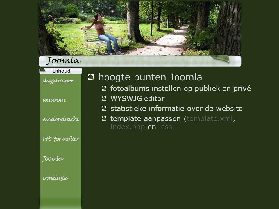 Titel subTitel Joomla hoogte punten Joomla fotoalbums instellen op publiek en privé WYSWJG editor statistieke informatie over de website template aanp