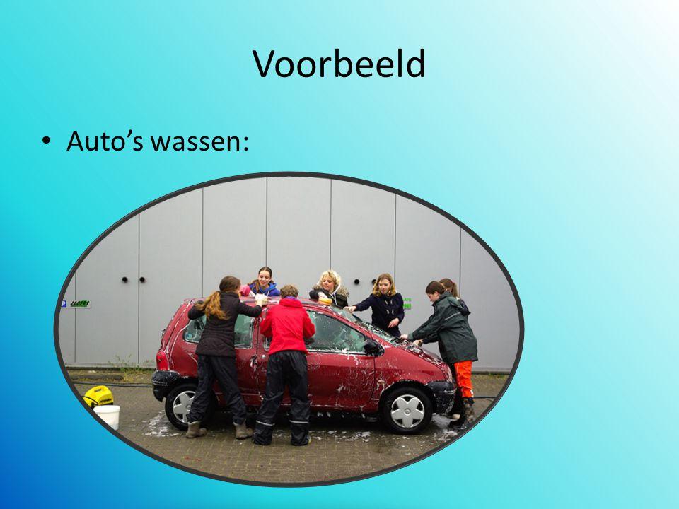 Voorbeeld Auto's wassen: