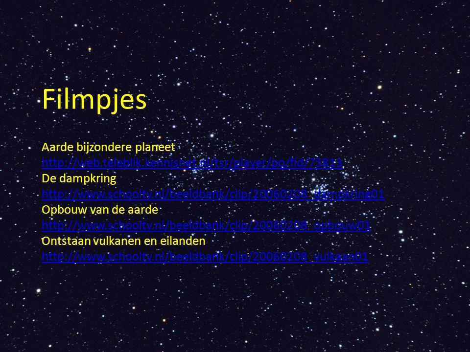 Filmpjes Aarde bijzondere planeet http://web.teleblik.kennisnet.nl/tsr/player/po/fid/75813 De dampkring http://www.schooltv.nl/beeldbank/clip/20060208