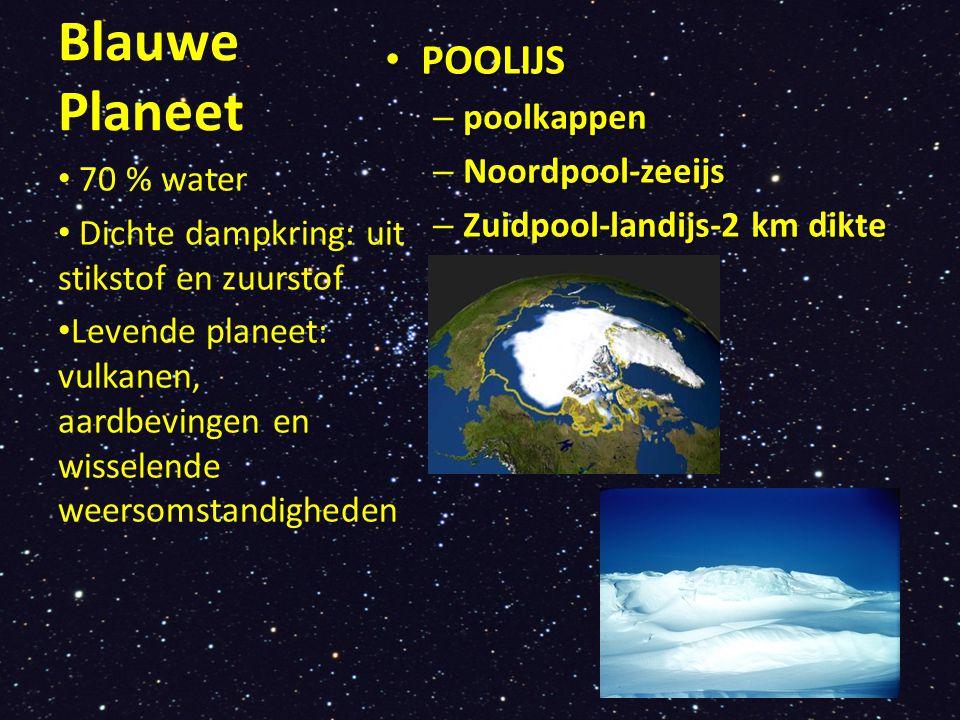 Blauwe Planeet POOLIJS POOLIJS – poolkappen – Noordpool-zeeijs – Zuidpool-landijs-2 km dikte 70 % water Dichte dampkring: uit stikstof en zuurstof Lev