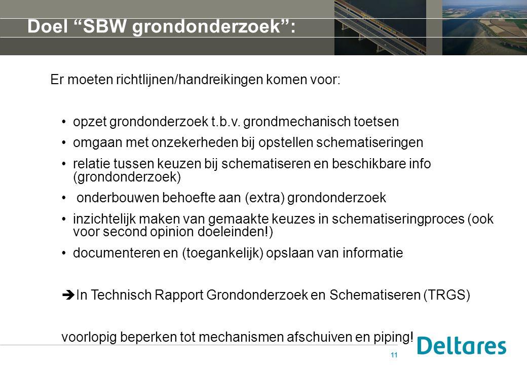 """11 Doel """"SBW grondonderzoek"""": Er moeten richtlijnen/handreikingen komen voor: opzet grondonderzoek t.b.v. grondmechanisch toetsen omgaan met onzekerhe"""
