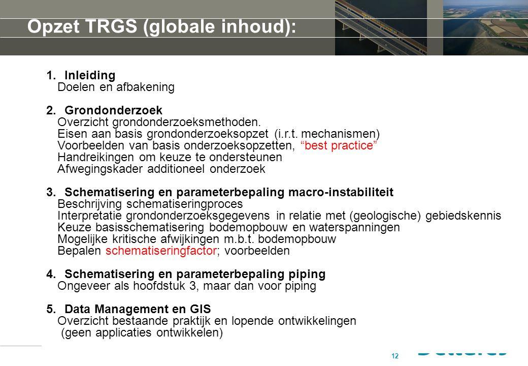 12 Opzet TRGS (globale inhoud): 1.Inleiding Doelen en afbakening 2.Grondonderzoek Overzicht grondonderzoeksmethoden. Eisen aan basis grondonderzoeksop