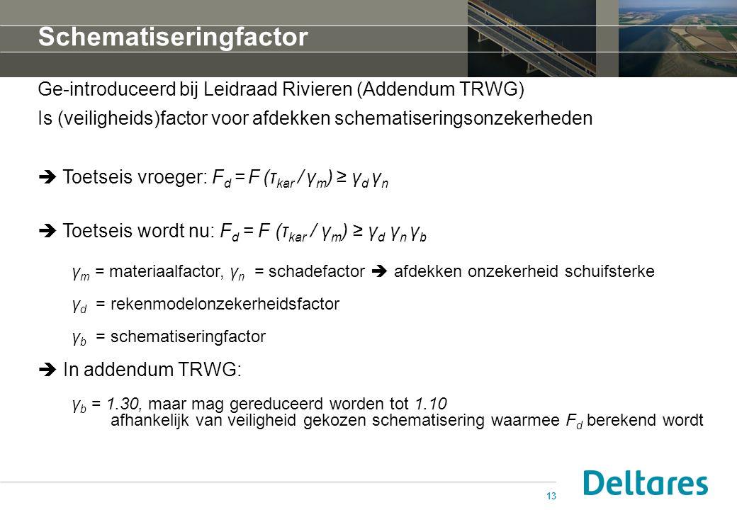 13 Schematiseringfactor Ge-introduceerd bij Leidraad Rivieren (Addendum TRWG) Is (veiligheids)factor voor afdekken schematiseringsonzekerheden  Toetseis vroeger: F d = F (τ kar / γ m ) ≥ γ d γ n  Toetseis wordt nu: F d = F (τ kar / γ m ) ≥ γ d γ n γ b γ m = materiaalfactor, γ n = schadefactor  afdekken onzekerheid schuifsterke γ d = rekenmodelonzekerheidsfactor γ b = schematiseringfactor  In addendum TRWG: γ b = 1.30, maar mag gereduceerd worden tot 1.10 afhankelijk van veiligheid gekozen schematisering waarmee F d berekend wordt