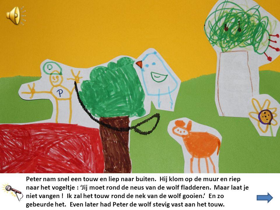 Peter nam snel een touw en liep naar buiten. Hij klom op de muur en riep naar het vogeltje : 'Jij moet rond de neus van de wolf fladderen. Maar laat j