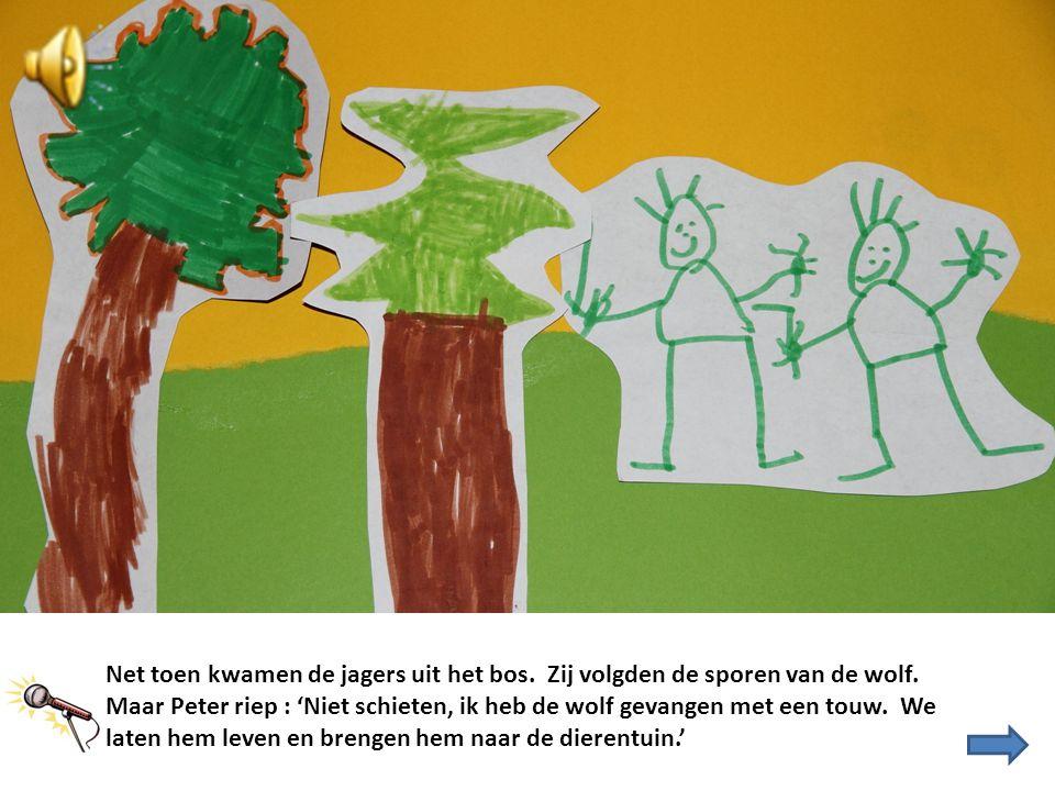 Net toen kwamen de jagers uit het bos. Zij volgden de sporen van de wolf. Maar Peter riep : 'Niet schieten, ik heb de wolf gevangen met een touw. We l