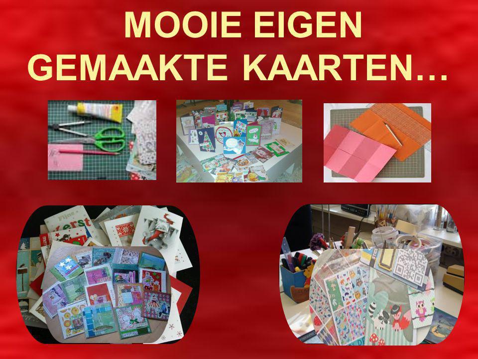Om het voor de kinderen ook persoonlijker te maken worden er mooie eigengemaakte kaarten bij de volle (stampvolle ) toilettassen/cadeautassen gedaan !