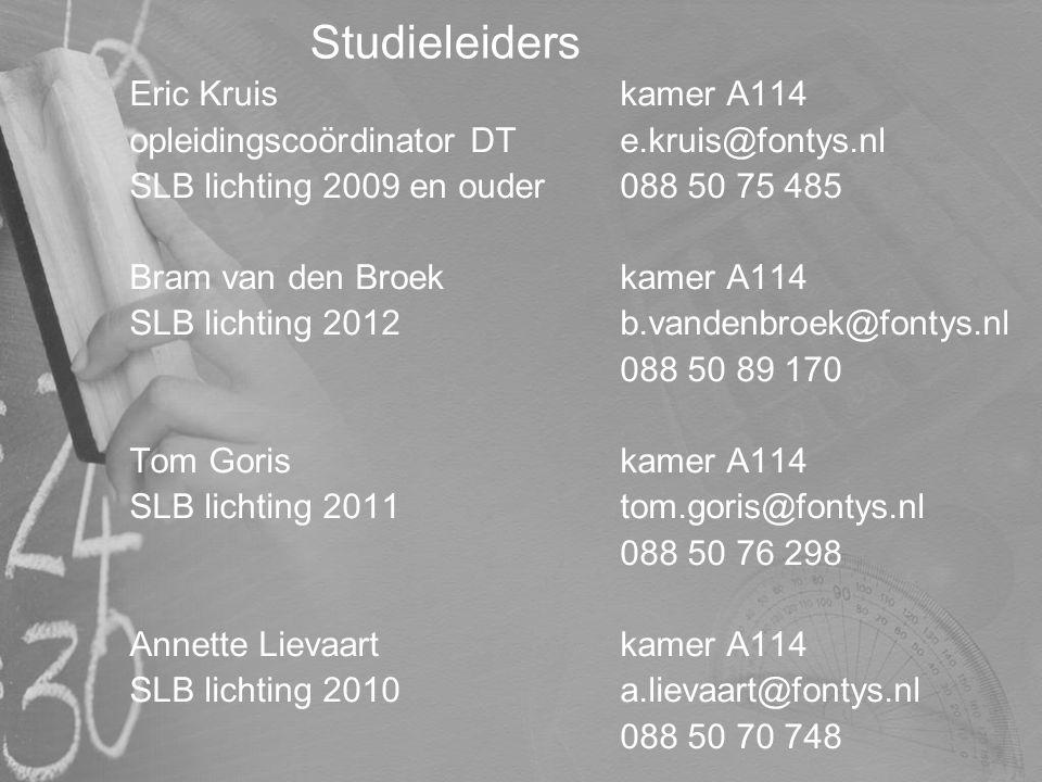 Studieleiders Eric Kruiskamer A114 opleidingscoördinator DTe.kruis@fontys.nl SLB lichting 2009 en ouder088 50 75 485 Bram van den Broekkamer A114 SLB