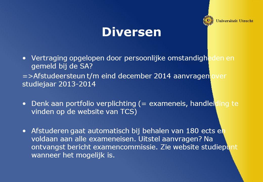 Diversen Vertraging opgelopen door persoonlijke omstandigheden en gemeld bij de SA.