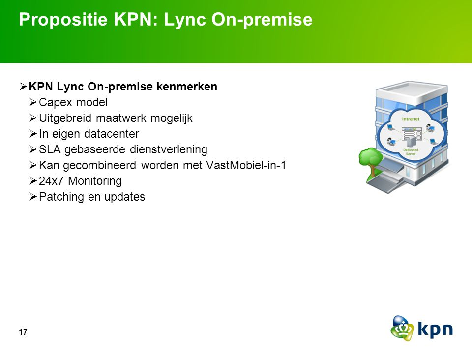  KPN Lync On-premise kenmerken  Capex model  Uitgebreid maatwerk mogelijk  In eigen datacenter  SLA gebaseerde dienstverlening  Kan gecombineerd