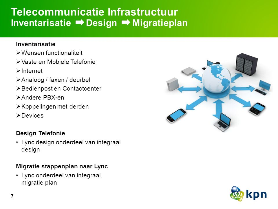 7 Telecommunicatie Infrastructuur Inventarisatie Design Migratieplan Inventarisatie  Wensen functionaliteit  Vaste en Mobiele Telefonie  Internet 