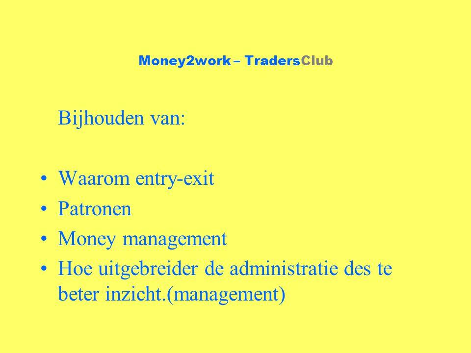 Money2work – TradersClub Bijhouden van: Waarom entry-exit Patronen Money management Hoe uitgebreider de administratie des te beter inzicht.(management)