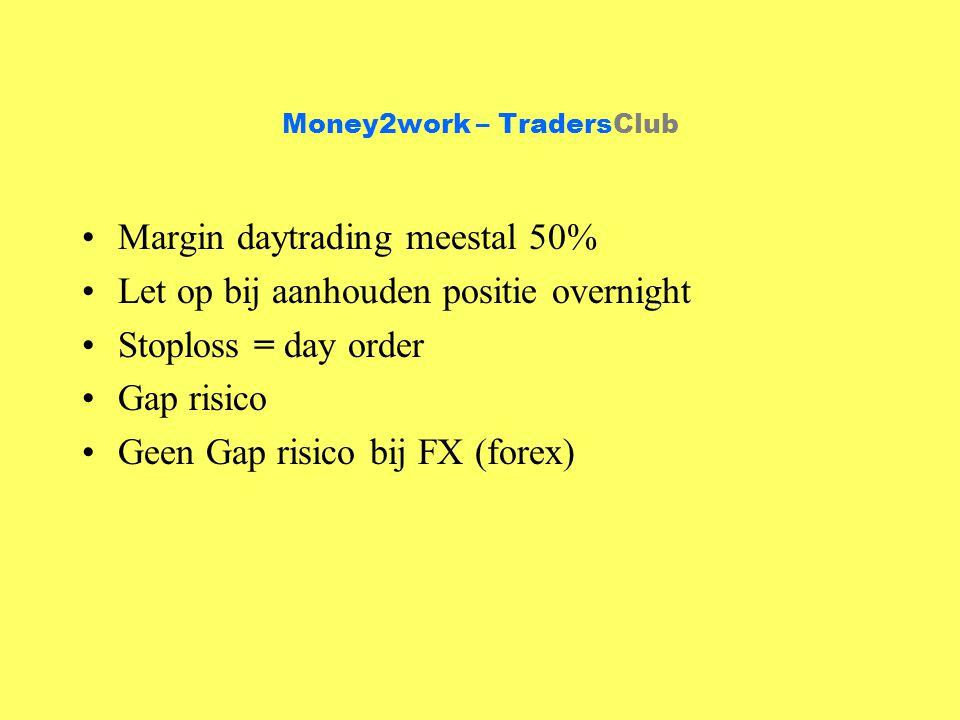 Money2work – TradersClub Margin daytrading meestal 50% Let op bij aanhouden positie overnight Stoploss = day order Gap risico Geen Gap risico bij FX (forex)