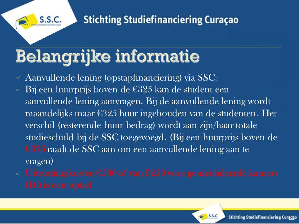 Aanvullende lening (opstapfinanciering) via SSC: Bij een huurprijs boven de €325 kan de student een aanvullende lening aanvragen. Bij de aanvullende l