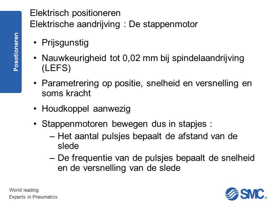 World leading Experts in Pneumatics Prijsgunstig Nauwkeurigheid tot 0,02 mm bij spindelaandrijving (LEFS) Parametrering op positie, snelheid en versne