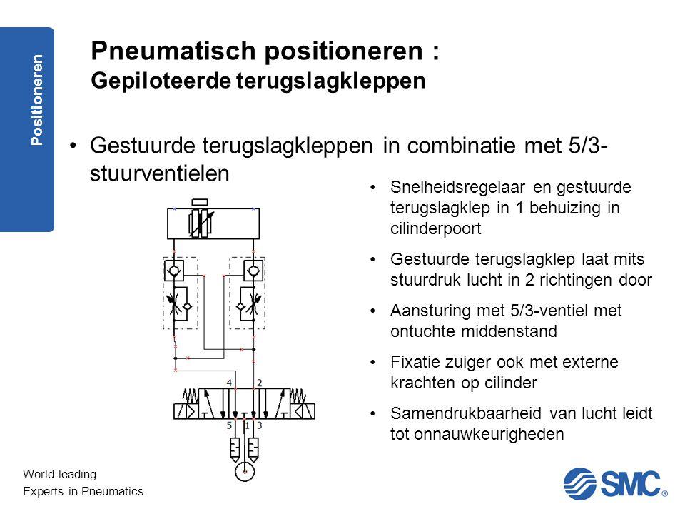 World leading Experts in Pneumatics Positioneren Pneumatisch positioneren : Gestuurde terugslagkleppen in combinatie met 5/2- stuurventielen (2) De gestuurde terugslagklep verhindert het vallen van de last bij een verlies aan voedingsdruk