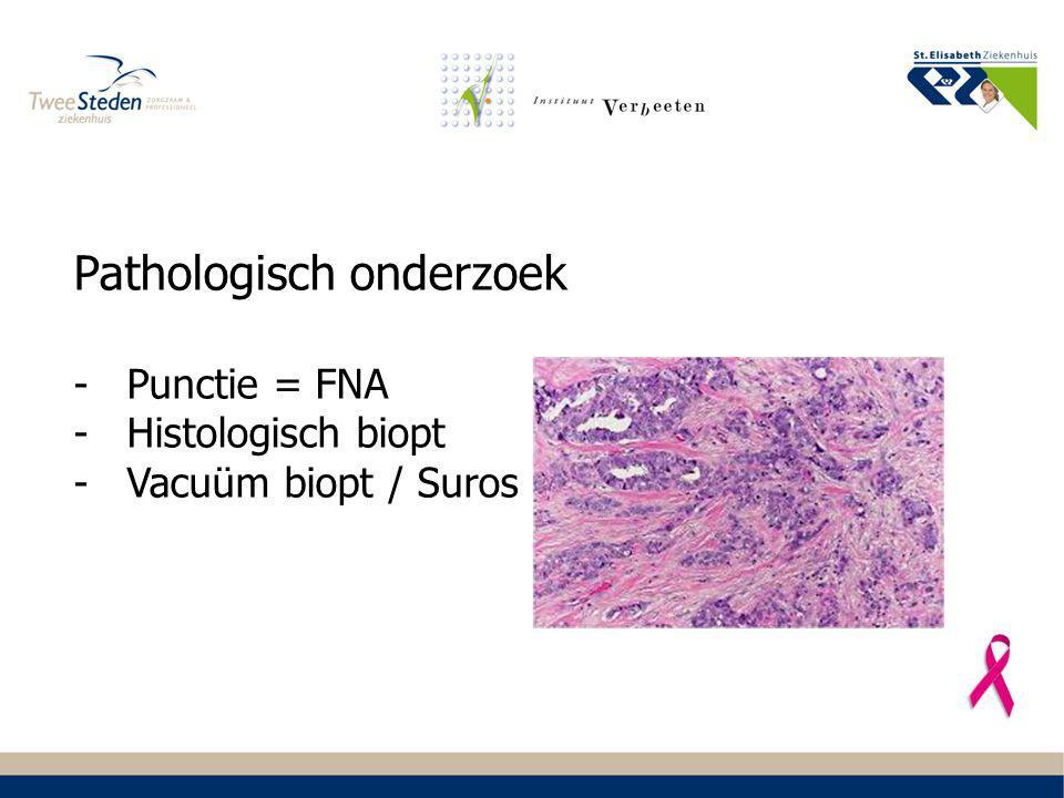Pathologisch onderzoek -Punctie = FNA -Histologisch biopt -Vacuüm biopt / Suros