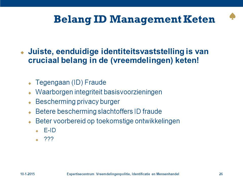 10-1-2015Expertisecentrum Vreemdelingenpolitie, Identificatie en Mensenhandel26 Belang ID Management Keten  Juiste, eenduidige identiteitsvaststellin