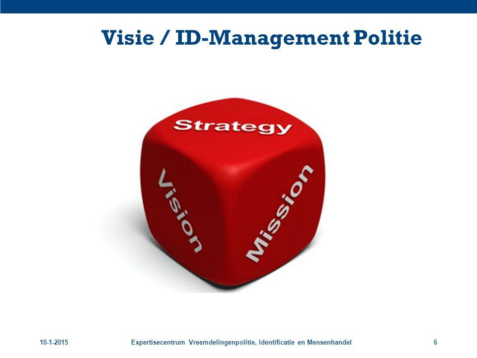 10-1-2015Expertisecentrum Vreemdelingenpolitie, Identificatie en Mensenhandel6 Visie / ID-Management Politie