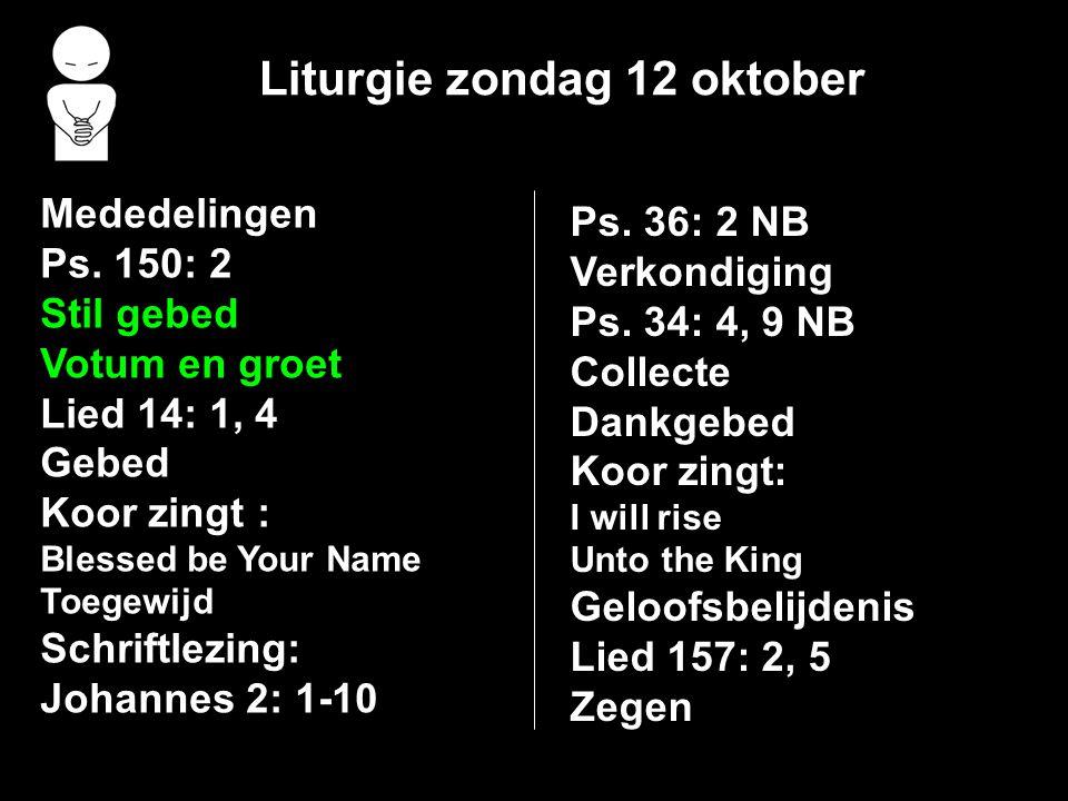 Liturgie zondag 12 oktober Mededelingen Ps. 150: 2 Stil gebed Votum en groet Lied 14: 1, 4 Gebed Koor zingt : Blessed be Your Name Toegewijd Schriftle