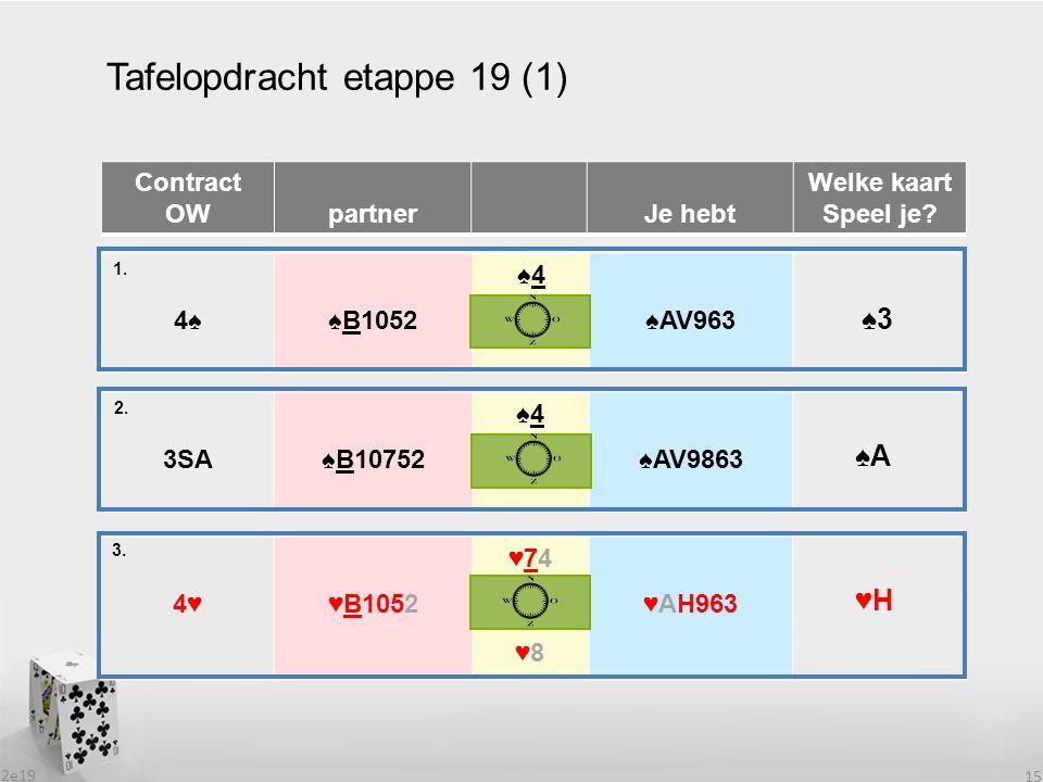 2e19 15 Tafelopdracht etappe 19 (1) Contract OW partnerJe hebt Welke kaart Speel je? 4♠4♠♠B1052 ♠4♠4 ♠AV963 1. 2. 3SA♠B10752 ♠4♠4 ♠AV9863 4♥♥B1052 ♥74