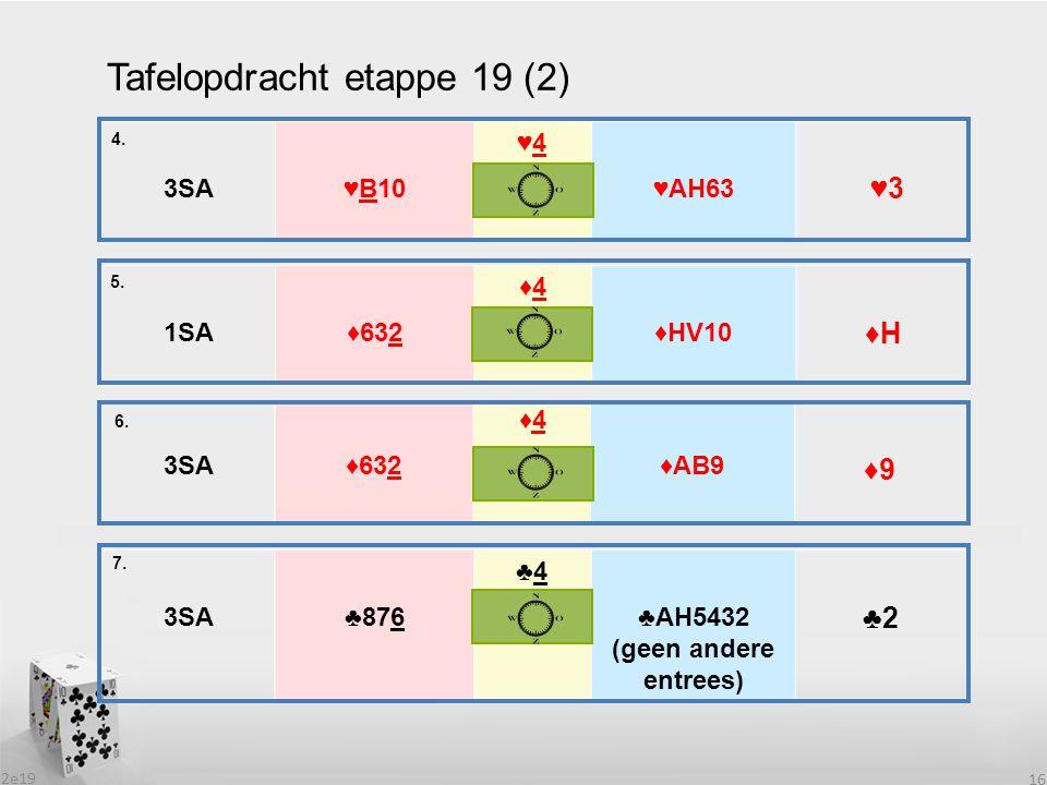 2e19 16 Tafelopdracht etappe 19 (2) 1SA♦632 ♦4♦4 ♦HV10 5. 6. 3SA♦632 ♦4♦4 ♦AB9 3SA♣876 ♣4♣4 ♣AH5432 (geen andere entrees) 7. 4. 3SA♥B10 ♥4♥4 ♥AH63 ♥3