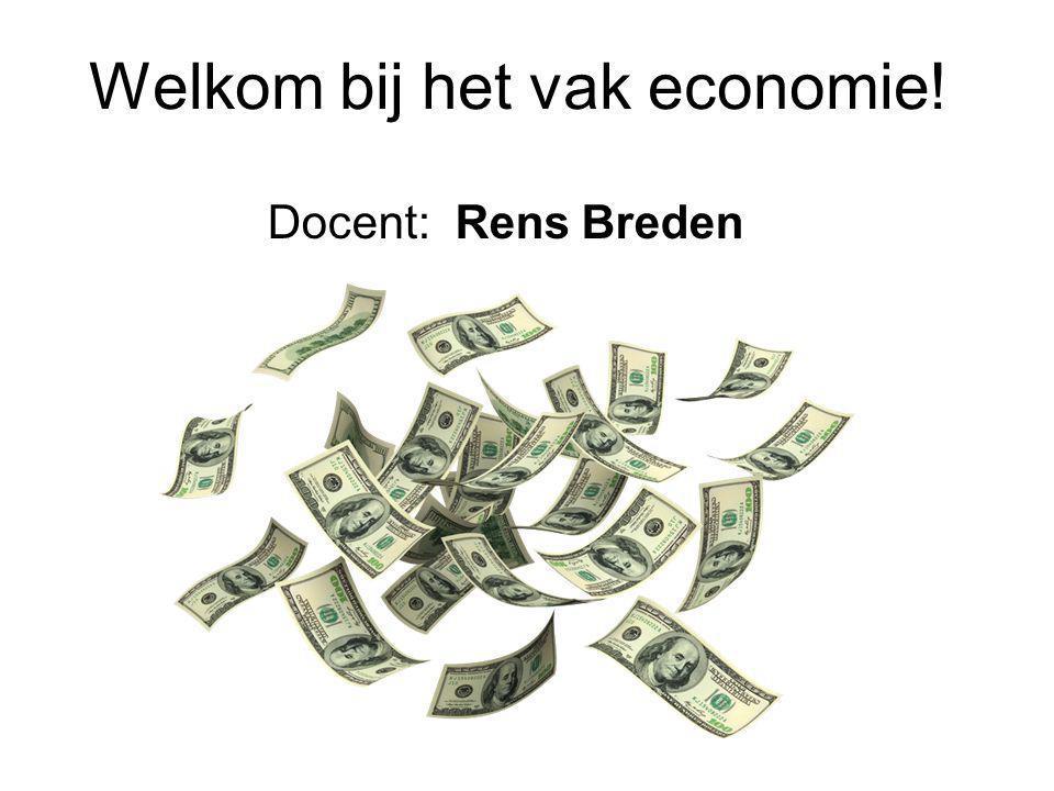 Welkom bij het vak economie! Docent: Rens Breden
