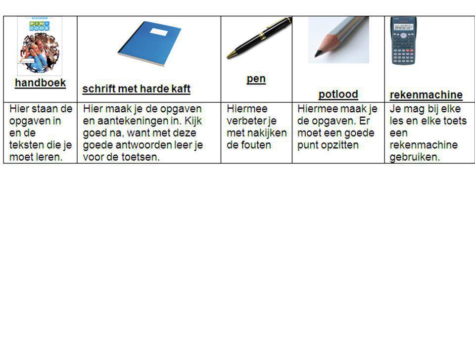 Blauwe blad op voorkant Planning achterop het schrift Regels links voorin