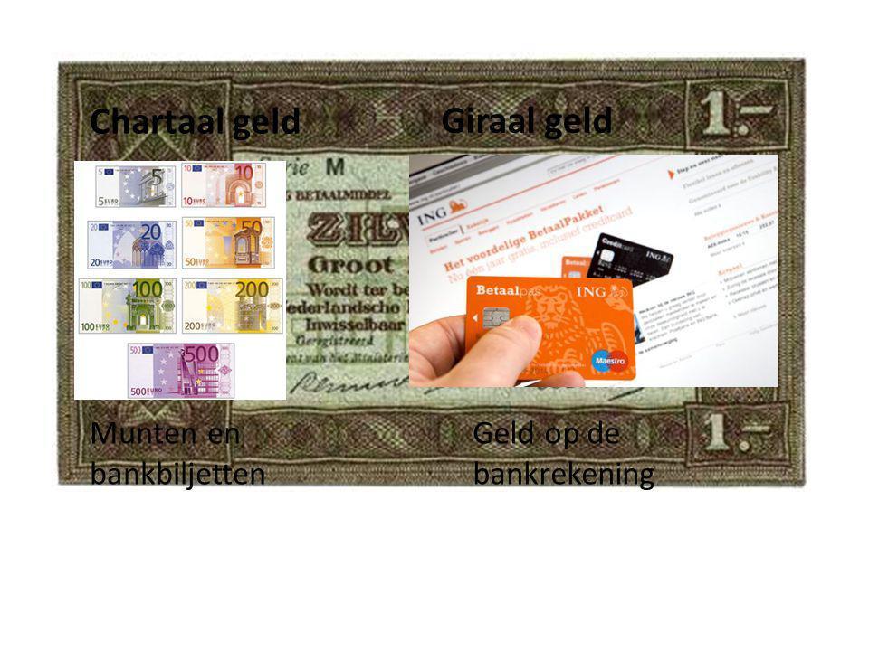 Chartaal geld Munten en bankbiljetten Geld op de bankrekening Giraal geld