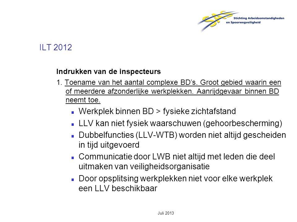 Juli 2013 ILT 2012 Indrukken van de inspecteurs 1. Toename van het aantal complexe BD's. Groot gebied waarin een of meerdere afzonderlijke werkplekken