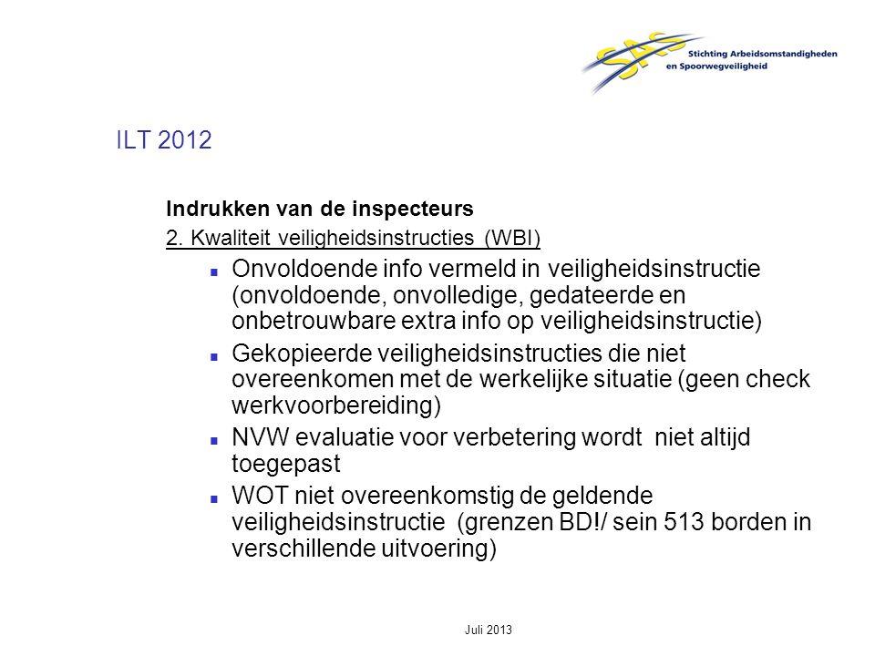 Juli 2013 ILT 2012 Indrukken van de inspecteurs 2. Kwaliteit veiligheidsinstructies (WBI) Onvoldoende info vermeld in veiligheidsinstructie (onvoldoen