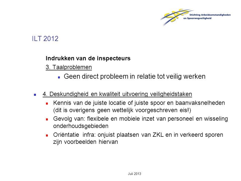 Juli 2013 ILT 2012 Indrukken van de inspecteurs 3. Taalproblemen Geen direct probleem in relatie tot veilig werken 4. Deskundigheid en kwaliteit uitvo