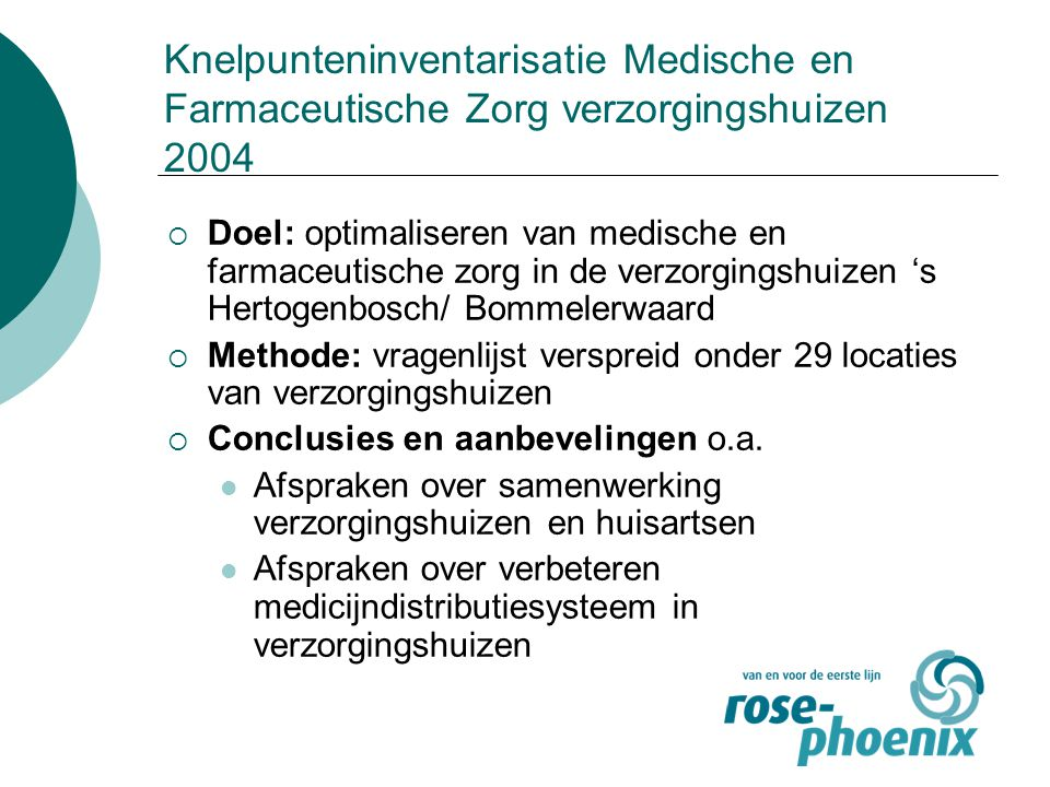 Knelpunteninventarisatie Medische en Farmaceutische Zorg verzorgingshuizen 2004  Doel: optimaliseren van medische en farmaceutische zorg in de verzor