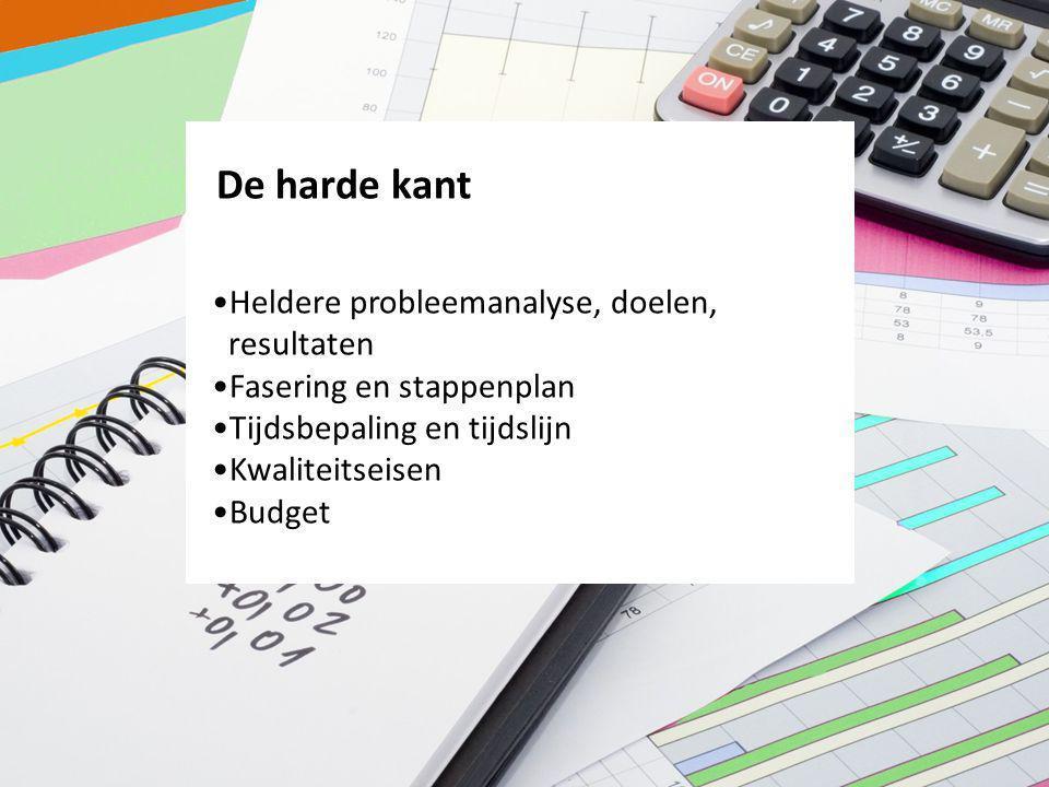 De harde kant Heldere probleemanalyse, doelen, resultaten Fasering en stappenplan Tijdsbepaling en tijdslijn Kwaliteitseisen Budget