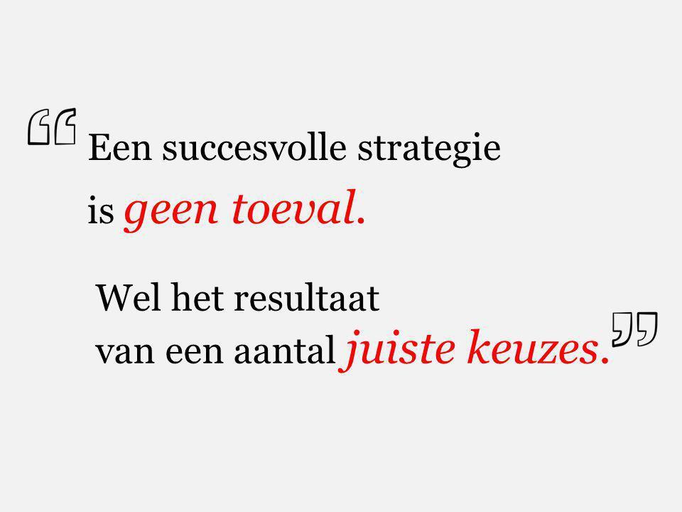 Een succesvolle strategie is geen toeval. Wel het resultaat van een aantal juiste keuzes.