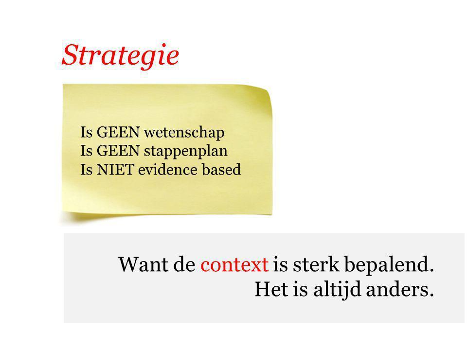 Strategie Want de context is sterk bepalend. Het is altijd anders. Is GEEN wetenschap Is GEEN stappenplan Is NIET evidence based