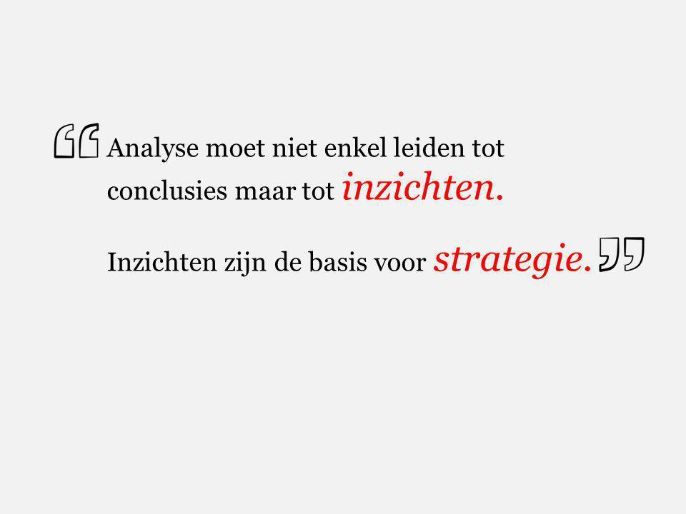 Analyse moet niet enkel leiden tot conclusies maar tot inzichten. Inzichten zijn de basis voor strategie.