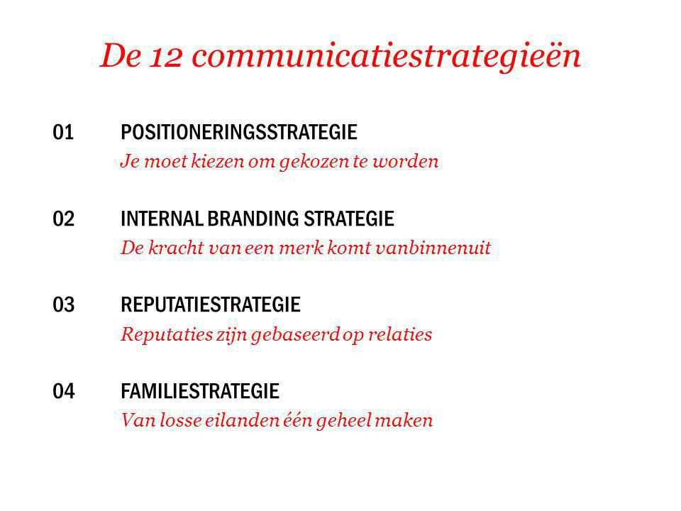 De 12 communicatiestrategieën 01 POSITIONERINGSSTRATEGIE Je moet kiezen om gekozen te worden 02INTERNAL BRANDING STRATEGIE De kracht van een merk komt vanbinnenuit 03REPUTATIESTRATEGIE Reputaties zijn gebaseerd op relaties 04FAMILIESTRATEGIE Van losse eilanden één geheel maken