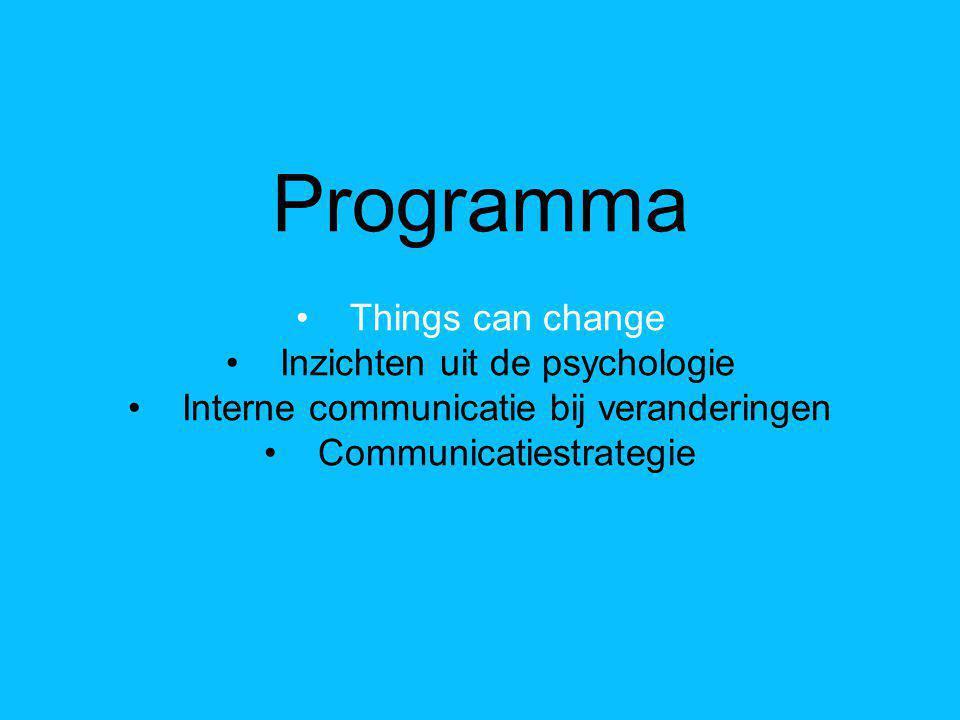 Programma Things can change Inzichten uit de psychologie Interne communicatie bij veranderingen Communicatiestrategie