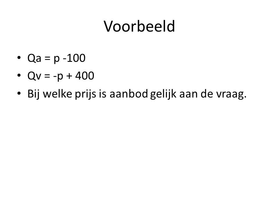 Voorbeeld Qa = p -100 Qv = -p + 400 Bij welke prijs is aanbod gelijk aan de vraag.