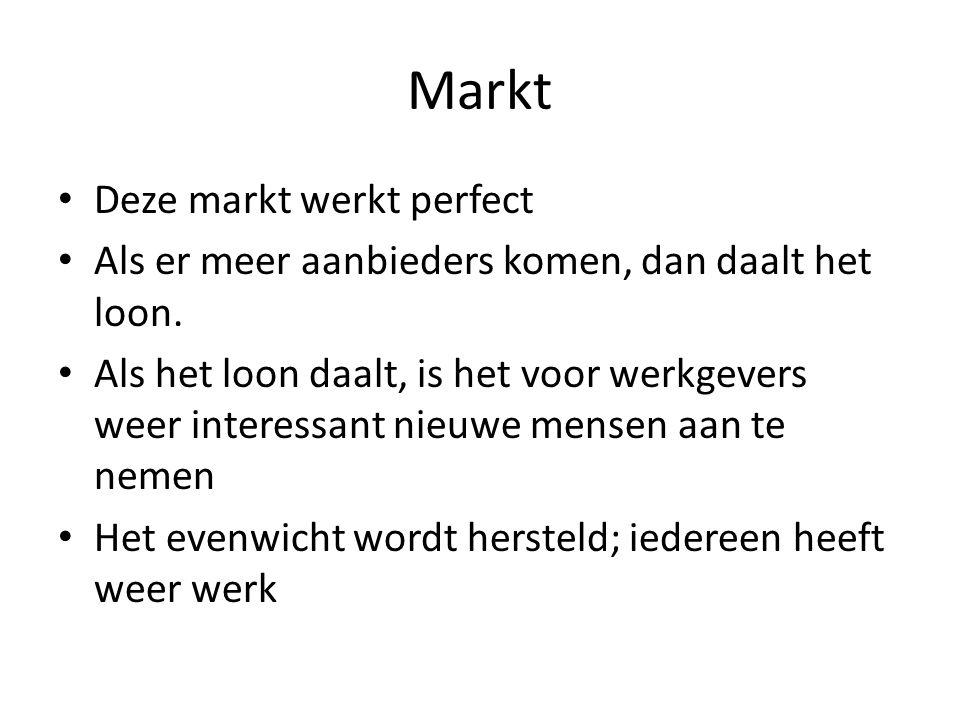 Markt Deze markt werkt perfect Als er meer aanbieders komen, dan daalt het loon.