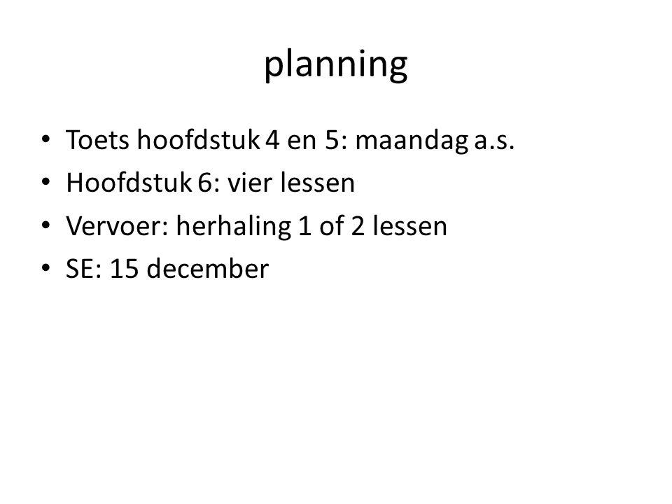 planning Toets hoofdstuk 4 en 5: maandag a.s.