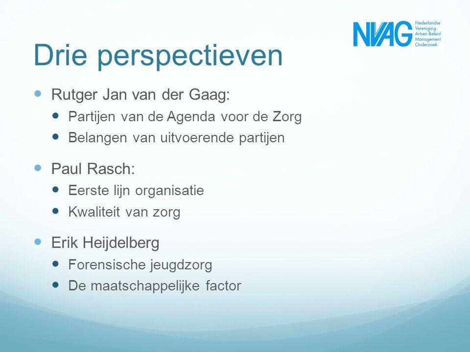 Drie perspectieven Rutger Jan van der Gaag: Partijen van de Agenda voor de Zorg Belangen van uitvoerende partijen Paul Rasch: Eerste lijn organisatie