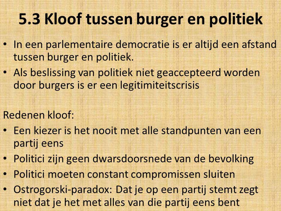 5.3 Kloof tussen burger en politiek In een parlementaire democratie is er altijd een afstand tussen burger en politiek. Als beslissing van politiek ni