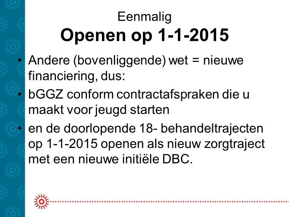Eenmalig Openen op 1-1-2015 Andere (bovenliggende) wet = nieuwe financiering, dus: bGGZ conform contractafspraken die u maakt voor jeugd starten en de