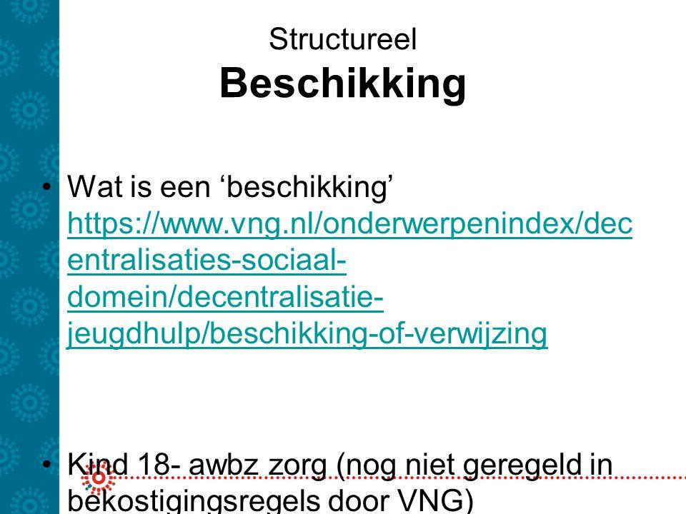 Structureel Beschikking Wat is een 'beschikking' https://www.vng.nl/onderwerpenindex/dec entralisaties-sociaal- domein/decentralisatie- jeugdhulp/besc