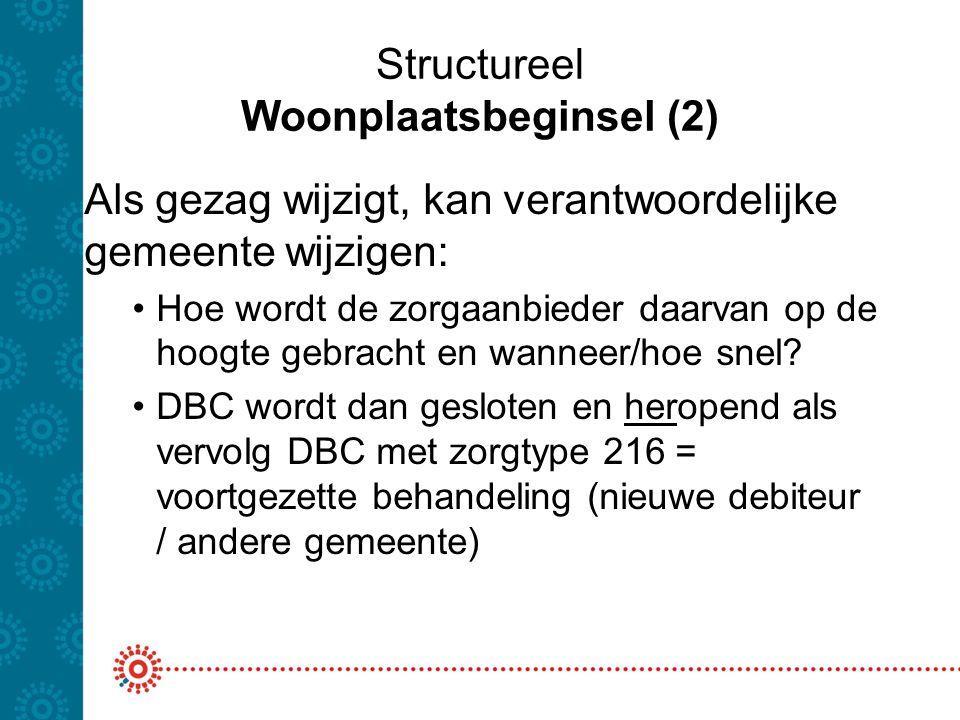 Structureel Woonplaatsbeginsel (2) Als gezag wijzigt, kan verantwoordelijke gemeente wijzigen: Hoe wordt de zorgaanbieder daarvan op de hoogte gebrach