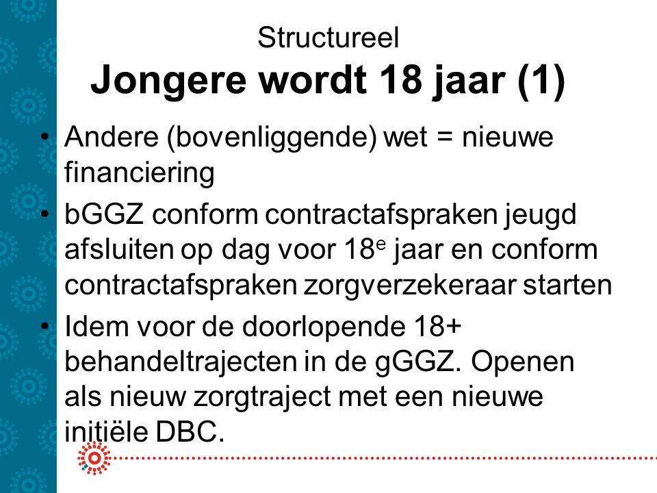 Structureel Jongere wordt 18 jaar (1) Andere (bovenliggende) wet = nieuwe financiering bGGZ conform contractafspraken jeugd afsluiten op dag voor 18 e