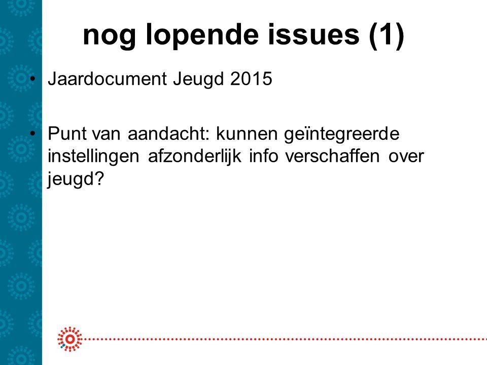 nog lopende issues (1) Jaardocument Jeugd 2015 Punt van aandacht: kunnen geïntegreerde instellingen afzonderlijk info verschaffen over jeugd?