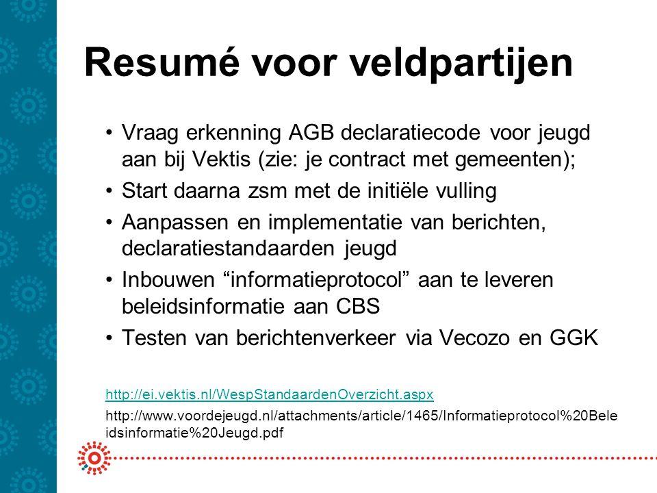 Resumé voor veldpartijen Vraag erkenning AGB declaratiecode voor jeugd aan bij Vektis (zie: je contract met gemeenten); Start daarna zsm met de initië