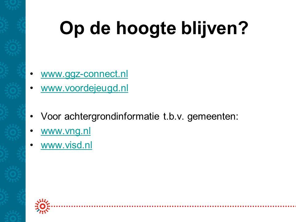 Op de hoogte blijven? www.ggz-connect.nl www.voordejeugd.nl Voor achtergrondinformatie t.b.v. gemeenten: www.vng.nl www.visd.nl